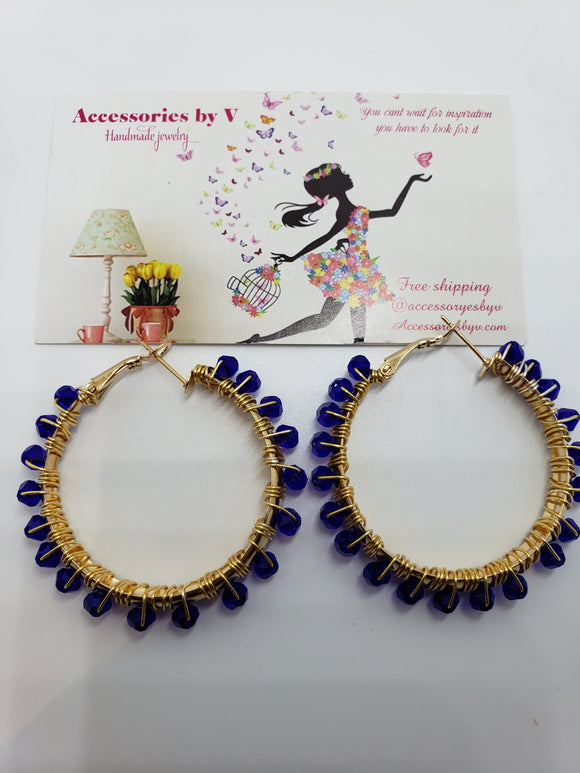 Blue hoops Earrings ( medium size) - Accessories by v