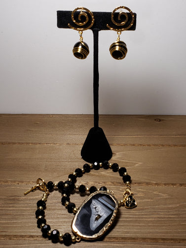 Black Elastic bracelet set - Accessories by v