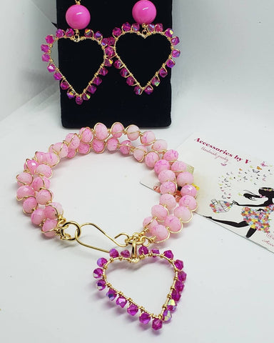 Pink heart set - Accessories by v