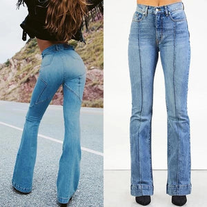 70s Star Stitching Denim Flared Pants