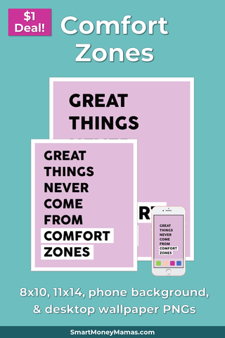 Great Things Never Come From Comfort Zones Printable Wall Art