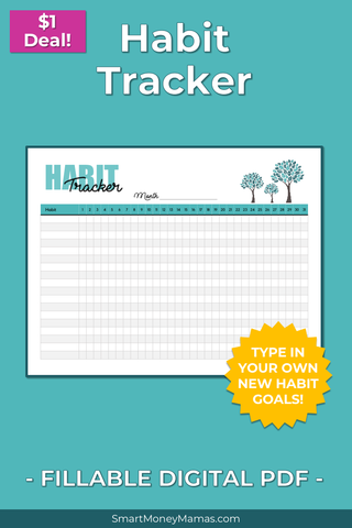 Habit Tracker - Monthly - Fillable PDF