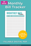 Monthly Bill Tracker - Fillable PDF