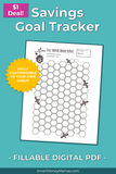 Honeycomb Savings Tracker - Fillable & Auto-calculating PDF