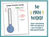 Savings Goal Thermometer - Fillable & Auto-calculating PDF