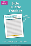 Side Hustle Income Tracker - Fillable & Auto-Calculating PDF
