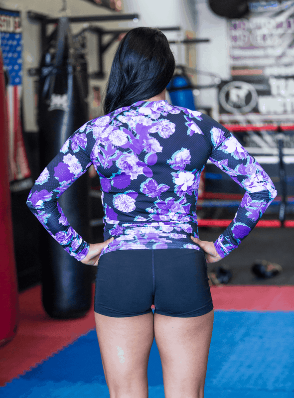 Purple Floral Unisex Rash guard