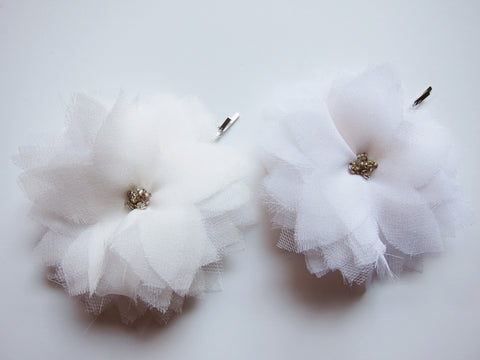 Two White Silk Chiffon Multi Layer Flower Hair Pin - Bridal Hair Accessories