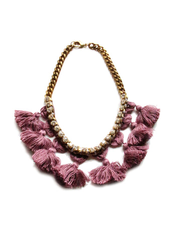 Pom Pom w Wrapped Crystal Chain Necklace- Radiant Orchid