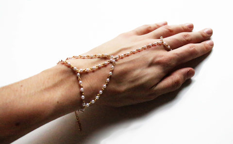 Pearl Hand Chain- ring, bracelet combination