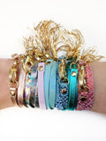 Holographic Leather Triple Wrap Tassel Bracelet