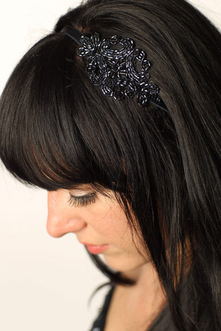 Midnight Blue Hand Appliqued Adjustable Headband- Hair Accessory
