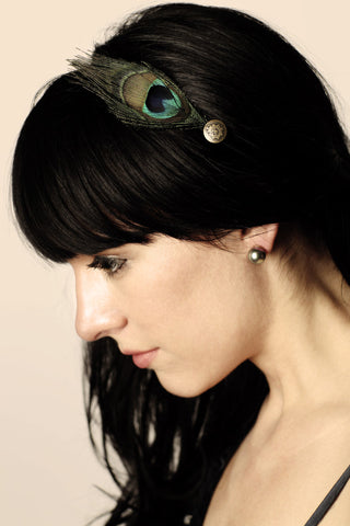 Peacock Feather and Vintage Button Headband Fascinator - Hair Accessory