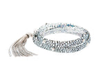 Holographic Crackle Leather Studded Bracelet With Art Deco Tassel