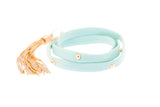 Sky Blue Leather Studded Triple Wrap Tassel Bracelet