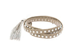 Grey Nailhead Studded Triple Wrap Tassel Bracelet