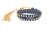 Metallic Blue Nailhead Studded Triple Wrap Tassel Bracelet