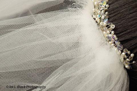 Swarovski and Fresh Water Pearl Hand Beaded Bridal Hair Comb - Hair Accessory