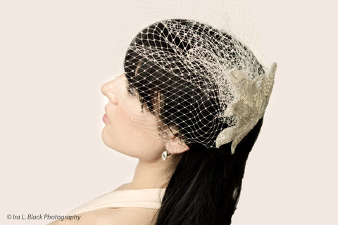 White Hand Beaded Birdcage Veil- Bridal Hair Accessory
