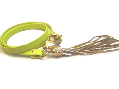 Neon Yellow Leather Triple Wrap Bracelet w/ gold tassel detail