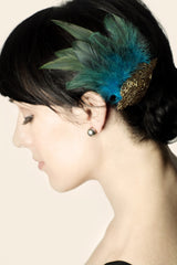 Art Deco Beaded Applique and Feather Hair Clip - Hair Accessory