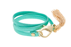Metallic Acqua Leather Triple Wrap Tassel Bracelet