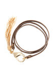 Bronze Leather Triple Wrap Tassel Bracelet