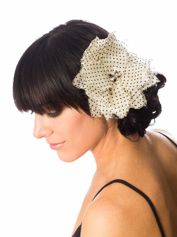 Silk Organza Black Flocked Polka-dot Hair Flower/Brooch