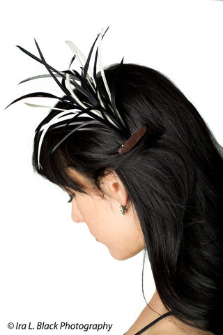 Black and White 1920s Goose Feather Hair Clip With Leather Accents- Hair Accessory