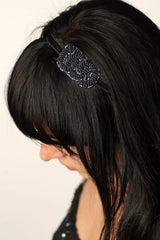 Midnight Blue Beaded Knot Headband- Hair Accessory