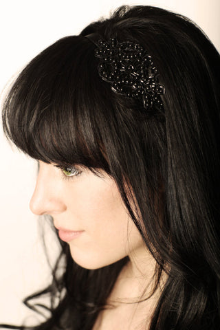 Black Beaded Applique Headband - Hair Accessory