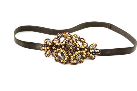 Brown and Gold Beaded Applique Headband - Hair Accessory