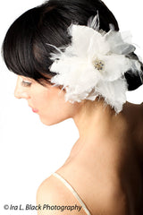 Silk Organza and Feather Flower Hair Clip - Bridal Hair Accessory