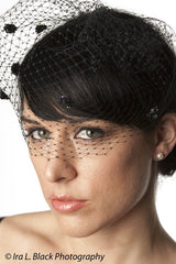Black Birdcage Veil with Sequin Flowers - Hair Accessory