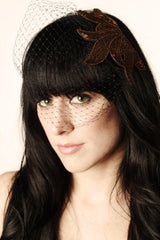 Black Birdcage Veil with Bronze Beaded Applique - Hair Accessory
