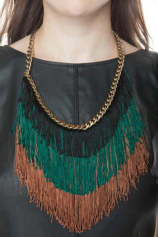 Earth Tone Fringe and Chain Necklace