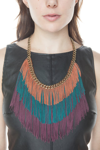 Jewel Tone Fringe and Chain Necklace