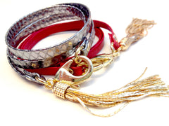 Candy Apple Red and Pewter Snake Skin Leather Triple Wrap Tassel Bracelet
