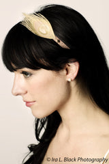 Rose Gold Metallic Headband with Bleached Peacock Feather- Hair Accessory
