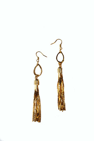 18K Gold Tassel Earrings
