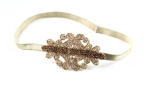 Champagne Beaded Applique Headband- Hair Accessory