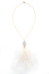 White Art Deco Feather Pendant Necklace