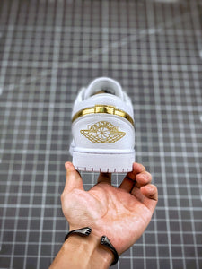 "Air Jordan 1 Low ""White & Metallic Gold"" - Just_4Kicks"