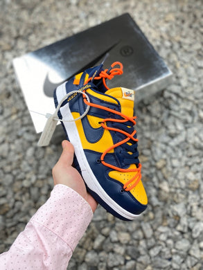 Off-White x Nike Dunk Low Leather - University Gold