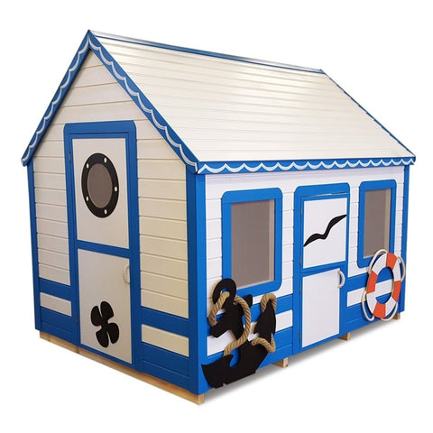 Marine Max (6x8 ft) Playhouse by Whole Wood Cabins - Kids Playhouse World