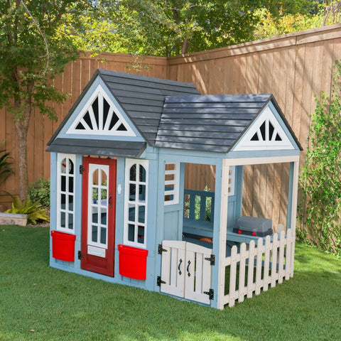 Blue Trail Timber Wooden Outdoor 7' x 6' Playhouse By KidKraft - Kids Playhouse World