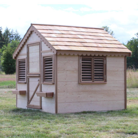 6 ft. x 6 ft. Little Alexandra Cottage Playhouse with Cedar Roof By Canadian Playhouse Factory - Kids Playhouse World