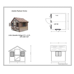 6 ft. x 6 ft. Little Alexandra Cottage Playhouse with Cedar Roof By Canadian Playhouse Factory