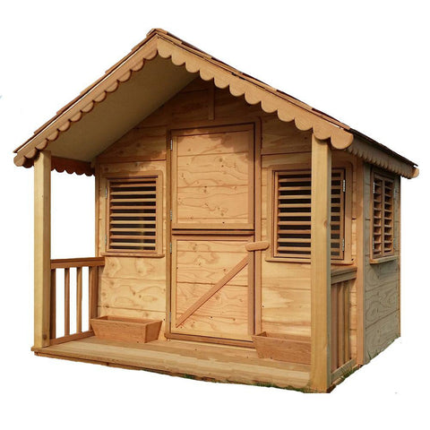 6 ft. x 6 ft. Little Alexandra's Cottage Deluxe Playhouse Kit with Covered Front Porch - Kids Playhouse World