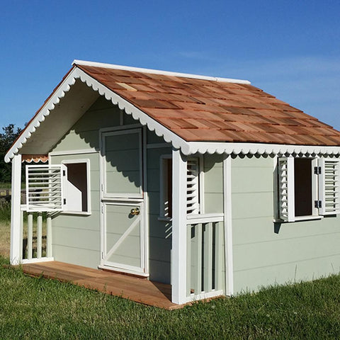 8 ft. x 6 ft. Little Alexandra Cottage with Covered Front Porch Playhouse by Canadian Playhouse Factory - Kids Playhouse World